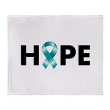Teal Ribbon Hope Throw Blanket