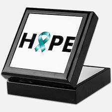 Teal Ribbon Hope Keepsake Box