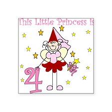 Fairy Princess 4th Birthday Square Sticker