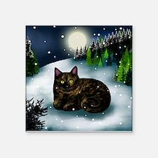 TORTOISESHELL CAT WINTER Square Sticker