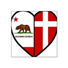 CA Danish Flag Heart Square Sticker