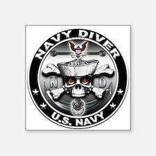 USN Navy Diver Skull ND Square Sticker
