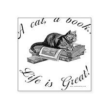 A Cat, A Book Square Sticker