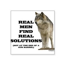 """Real Men Find Real Solutions Square Sticker"