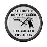 Reload Gun Black.png Large Wall Clock