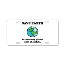 Save Earth Chocolate Black.png Aluminum License Pl
