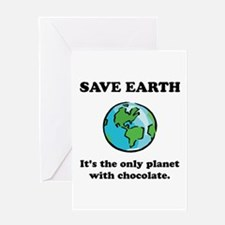 Save Earth Chocolate Black.png Greeting Card