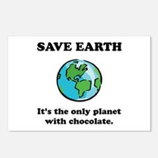 Save Earth Chocolate Black.png Postcards (Package