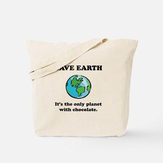 Save Earth Chocolate Black.png Tote Bag