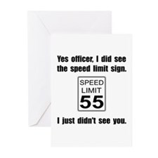 Speed Limit Black.png Greeting Cards (Pk of 10)