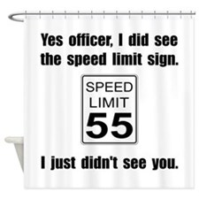 Speed Limit Black.png Shower Curtain
