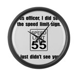 Speed Limit Black.png Large Wall Clock