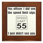 Speed Limit Black.png Framed Tile