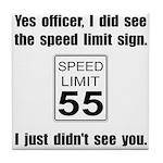 Speed Limit Black.png Tile Coaster