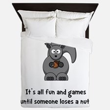 Squirrel Nut Black.png Queen Duvet