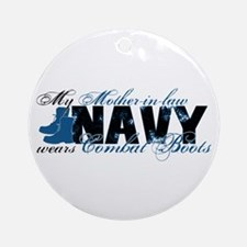 Mother Law Combat Boots - NAVY Ornament (Round)
