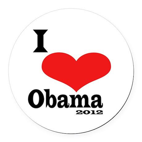 I Love Obama Round Car Magnet
