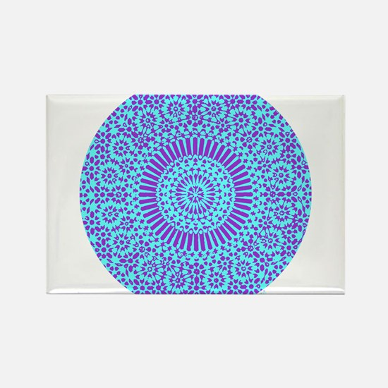spiritual meditation mandala (aqua) Rectangle Magn