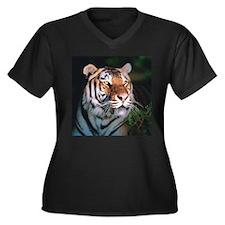 Tiger At Night Women's Plus Size V-Neck Dark T-Shi