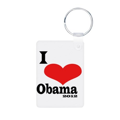 I Love Obama Aluminum Photo Keychain