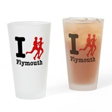 I Run Plymouth Drinking Glass