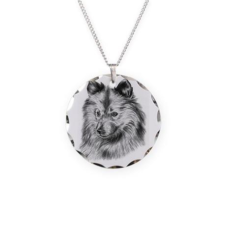 Keeshond dog Necklace Circle Charm