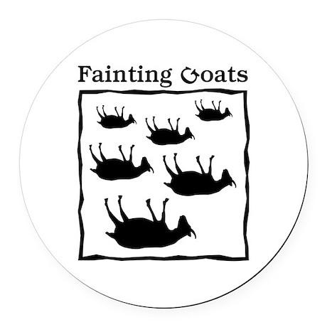 Fainting Goats Round Car Magnet By JellyBrainJamboree
