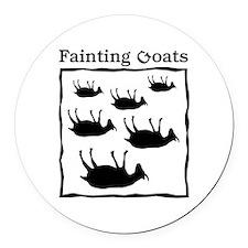 Fainting Goats Round Car Magnet