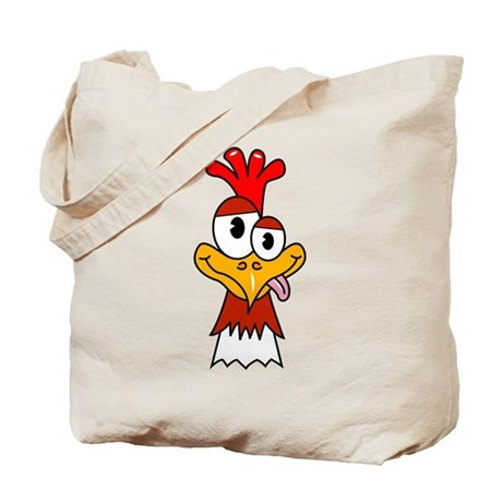 Crazy Chicken Head Tote Bag