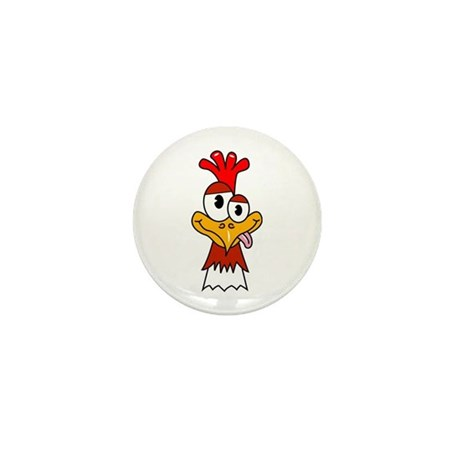 Crazy Chicken Head Mini Button