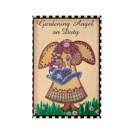 Gardening Angel Rectangle Magnet