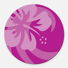 Hibiscus Purple Round Car Magnet