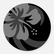 Hibiscus Black Round Car Magnet