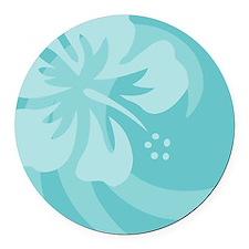 Hibiscus Aqua Round Car Magnet