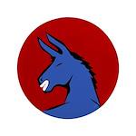 "Big Blue Democratic Donkey 3.5"" Button"