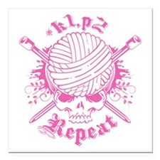"Knitting Skull Pink Square Car Magnet 3"" x 3"""