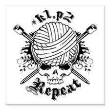 "Knitting Skull Square Car Magnet 3"" x 3"""