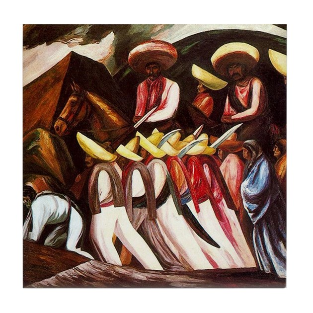 Orozco's Zapatistas Mexican Tile Coaster By Oshishop