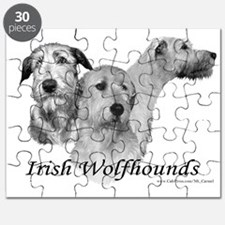 3 Irish Wolfhound Head StudyPuzzle
