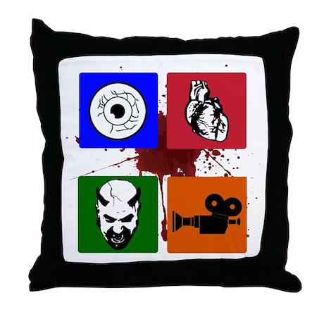 I Heart Monster Movies Logo Throw Pillow