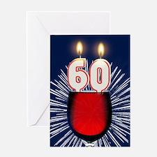 60th birthday wine and birthday candles Greeting C