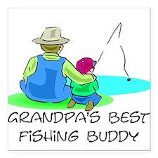 Grandpa's Fishing Buddy Square Car Magnet