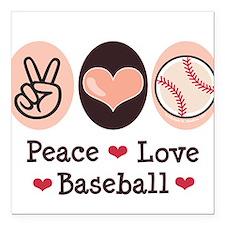 Peace Love Baseball Square Car Magnet
