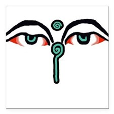 WATCHFUL EYES OF BUDDHA Square Car Magnet