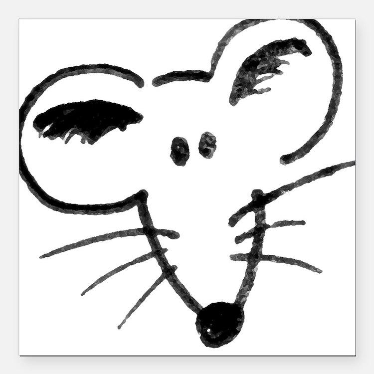 Rat Face Square Car Magnet