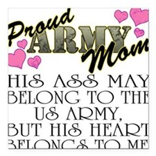 Proud Army Mom - Heart Square Car Magnet