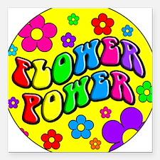 FLOWER POWER Square Car Magnet