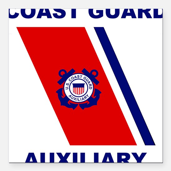 USCG Auxiliary Stripe<BR> Grey Square Car Magnet 2