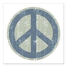 Urban Peace Sign - Denim Square Car Magnet