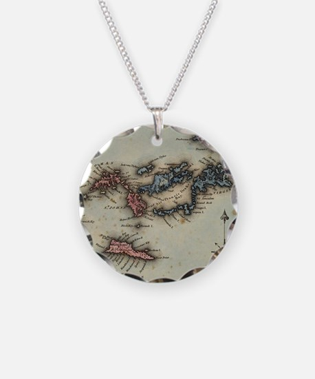 Vintage Map of The Virgin Is Necklace